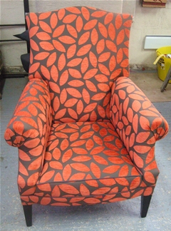 Upholstered armchair in the PH Upholstery workshop
